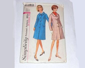 Womens  Vintage 1960s Simplicity  Mod Coat Pattern Sz 12 Bust 32 6182 Uncut