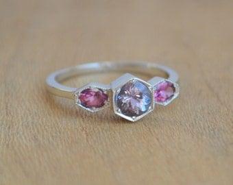Gold Hexagon Style Ring, white gold hexagon ring, purple hexagon ring, garnet jewelry, gifts for moms, tanzanite ring