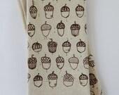 Cloth Napkins, Hand Printed Acorns, Set of 4 Natural Linen / Cotton Blend