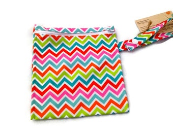Washable Reusable Snack or Sandwich Bag Neon Chevron