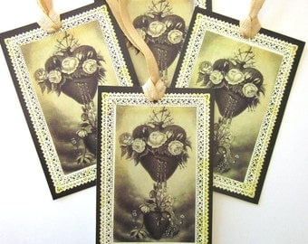 Handmade Religious Gift Tag Sacred Heart French Holy Card Reproduction