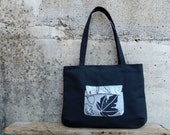 Dark grey tote bag for school and work with leaves. Zippered bag medium size in charcoal