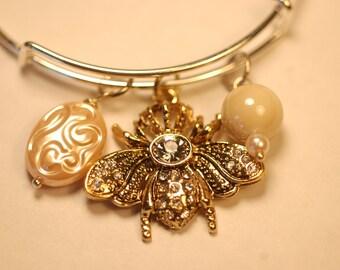 Queen Bee Bracelet , Bee Charm Bracelet , Statement Bee