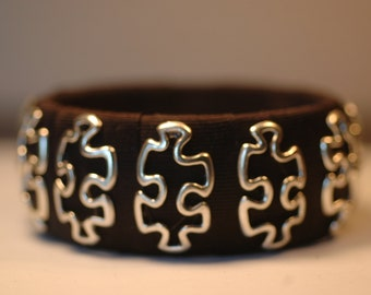 Black Puzzle Ribbon Bangle , Puzzle Pieces Bracelet , Puzzle Piece Bangle