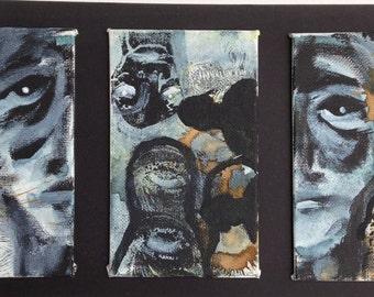 Mixed media series original abstract graffiti canvas paintings