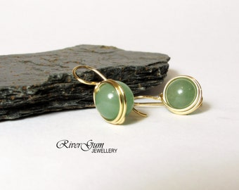 Green Aventurine Earrings, Wire Wrapped, 14kt Gold Filled, RiverGum Jewellery