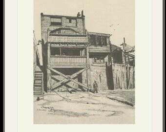 Prospect of Whitby, Wapping Wall Back, SouthWark, London E1, Vintage Print 47, 1946, Fairclough, Wartime Britain, Wartime Art, World War 2