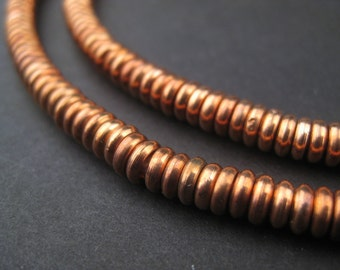 370 Rondelle Copper Beads - 5mm Heishi Beads - Sliced Disk Beads - Metal Disc Beads - Copper Spacers - Jewelry Supplies (MET-HSHI-CPR-156)