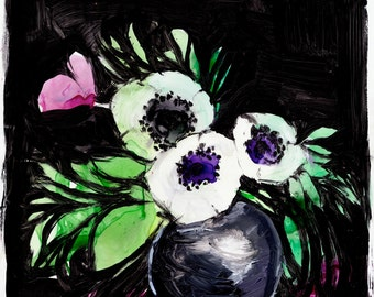 Isabelle - Original 11x11 Acrylic Painting - Black - Anemone - Floral - Still Life - Modern - Contemporary Art - Watercolor