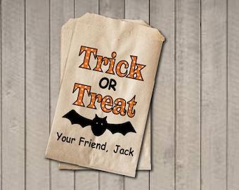 Trick Or Treat Candy Bags, Candy Bags, Halloween Favor Bag, Kids Classroom Exchange, Halloween Treat Bag, Halloween Party - Orange & Black