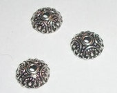 10mm Bead caps antique silver plated round pattern carved bead caps for jewelry making  50 pieces per lot (03342)