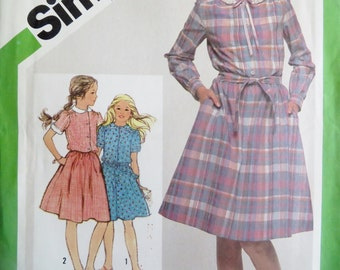 Sewing Pattern Girls Dress Uncut Girl Dress Sewing Pattern 1980s Simplicity 9986