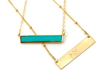 Turquoise Bar Necklace, Simple Statement Necklace, Custom Necklace Bar, Handmade Necklace, Mrs Necklace, Bride to Be Necklace, Name Bar
