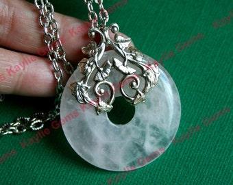 Filigree Adorned Rose Quartz Donut Chain Necklace Antique Silver Vine Patterned Filigree Stamping Two Sided