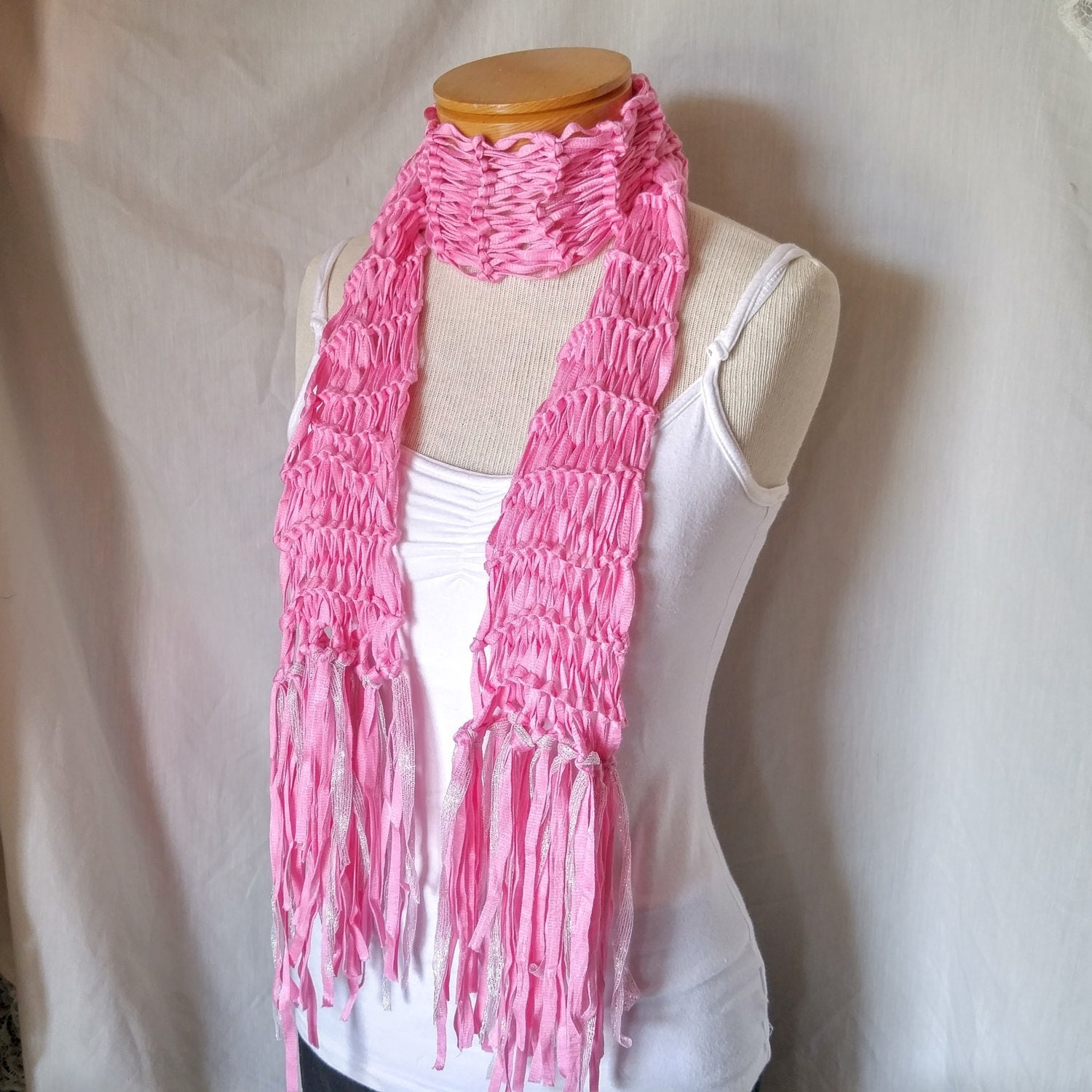 Knitting Pattern Ribbon Yarn Scarf : Pink knit ribbon yarn scarf silver pink fringe Bow neck tie