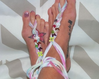 Barefoot Sandal Toe Thong Upcycled Boho Beach Hippie Shoes Tie Dye With Butterflies Hand Beaded Ankle Tie Adjustable Fit One Size Fits All