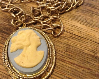 Baby blue Cameo Silhouette Necklace