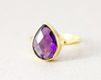 Purple Amethyst Ring - Gold - Gemstone Ring - Stacking Ring, February Birthstone Ring