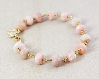Pink Opal Bracelet – Golden Charm