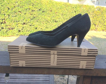Vintage Fanfares Black Heels Women's Size 6 1/2