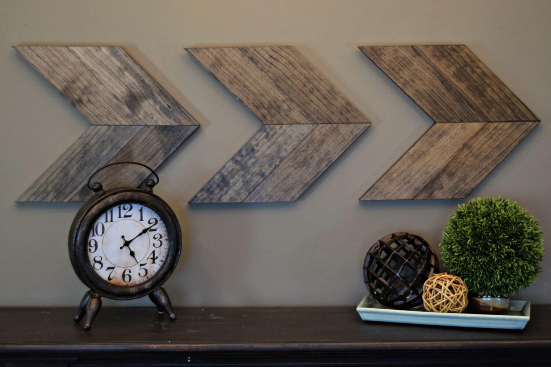 Wood arrow wall art rustic brown chevron arrows wall - Modern rustic wall decor ...