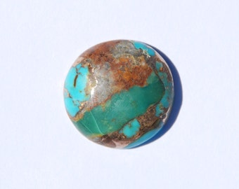 Kingman Boulder Turquoise Infused with Bronze Round Cabochon