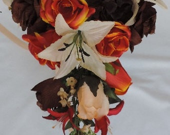 Red / Orange, Brown, Champagne Roses, Tiger Lilies,Silk Wedding Bridal Bouquet Fall