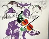 Vintage MARC CHAGALL VIOLINIST Fiddler Print Silk Screen