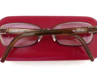 Valentino 5518 Eyeglasses // 80s 90s Vintage Designer Frames // made in Italy // Rhinestones and Tortoiseshell / Red leather Case /