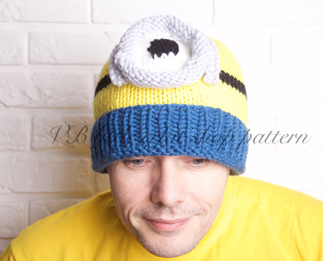 Mens chunky minion one eye hat knitting pattern. Instant