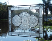 OOAK Stained Glass Plate Panel 1930s Depression Glass Pineapple and Floral Stained Glass Window Transom, Valance, Unique Home Decor
