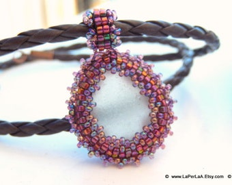 Mermaid Tears -  Organic Genuine Amalfi clear  Sea Glass - rusty violet