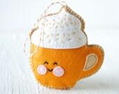 PDF Pattern - Pumpkin Spice Latte, Halloween, Thanksgiving, Felt Ornament Pattern, Softie Pattern