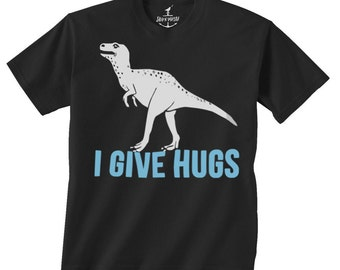 I Give Hugs Dinosaur -- Kids T shirt -- toddler youth boys birthday party ideas theme Size 2t, 3t, 4t, youth xs, yth sm, skip n whistle