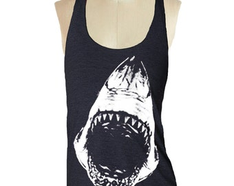 Shark Black Tank top --- Women's Racerback Tank Shirt Tri-Blend S M L Xl Xxl vintage soft athletic tank top ladies shirt skip n whistle