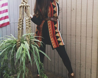 70s ethnic print short sleeve sweater duster