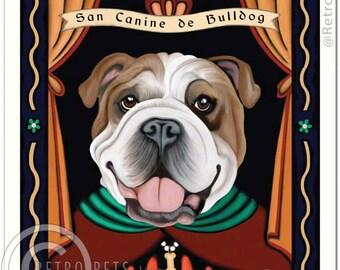 8x10 English Bulldog Art - Patron Saint of Slobber - Art print by Krista Brooks