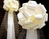 6 Large Ivory Pull Bows Tulle Tails Wedding Church Pew Decorations