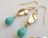 Leaf Mint Green Glass Earrings- Gold Leaf Mint Green Earrrings- Silver Leaf Mint Green Earrings- Swarovski Leaf Earrings- Pink- Blue- EGS-L4
