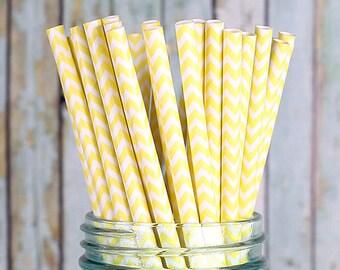 Yellow Chevron Paper Straws, Yellow Wedding Straws, Drinking Straws, Party Straws, Cocktail Straws, Fancy Straws, Baby Shower (25 ct)