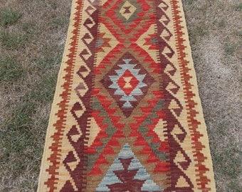 6 ft 2 x 1 ft 9   Small Traditional Maimana Rug. Hand woven Kilim/Tapis Runner. 190 x 58 cm