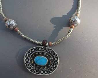 Pendant Kuchi Tribal Necklace. Turquoise colour stone. Hand made.