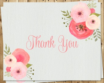 Botanical, Baby, Shower, Thank You Cards, Girl, Watercolor, Flowers, Mint, Rose, Pansy, 24 Folding Notes, FREE Shipping, WTRCL, Birthday