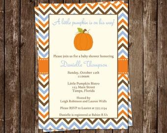 Autumn Baby Shower Invitations, Baby Boy, Blue, Pumpkin, Stripes, Orange, Set of 10 Printed Cards, LPUBL, Little Chevron Pumpkin Boy