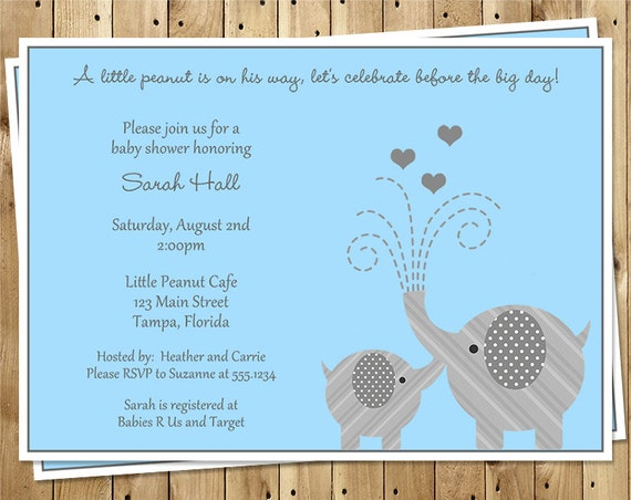 Elephant Baby Shower Invitations, Boys, Blue, Gray, Hearts, Set of 10 Printed Cards with Envelopes, FREE Shipping, LIPBL, Little Peanut Boy