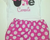 Disney Inspired Minnie Mouse Outfit - Custom Personalized Baby Toddler Girls Bloomers Shorts -Disney Trips Birthday Gift- Pink Polka Dots