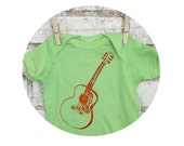 Acoustic Guitar baby bodysuit, infant creeper, one piece snapsuit, Key lime green, Screen-printed Onepiece Bodysuit, short sleeved, Musician