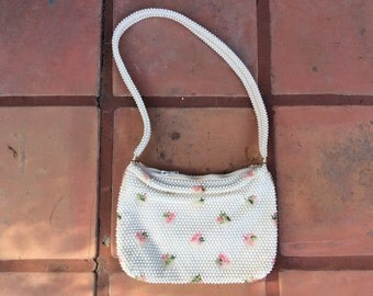 Vintage 1960s Off-white beaded Purse with Embroidered Floral Details