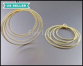 2 Large 5-hoop multiple ring pendants, matte gold brass findings, necklace pendants, wholesale jewelry supplies 905-MG (matte gold, 2 pcs)