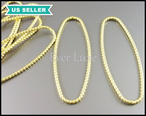 2 Large textured ovals, matte gold oval pendants, rope texture oval shape pedants, large necklace pendant 1927-MG